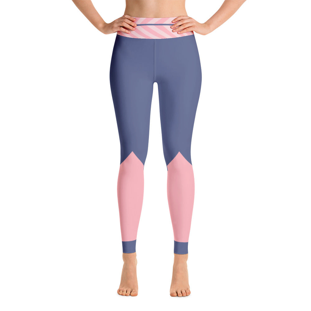 Colorful Blue Pink Athletic Yoga Leggings