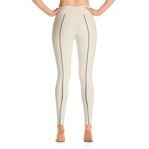 Patterned Minimalism White Yoga Leggings