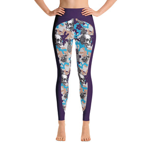 Patterned Skeleton Print Purple Yoga Leggings