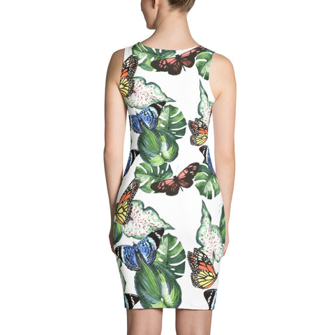White Printed dress with butterflies and water-coloured tropical leaves, for women