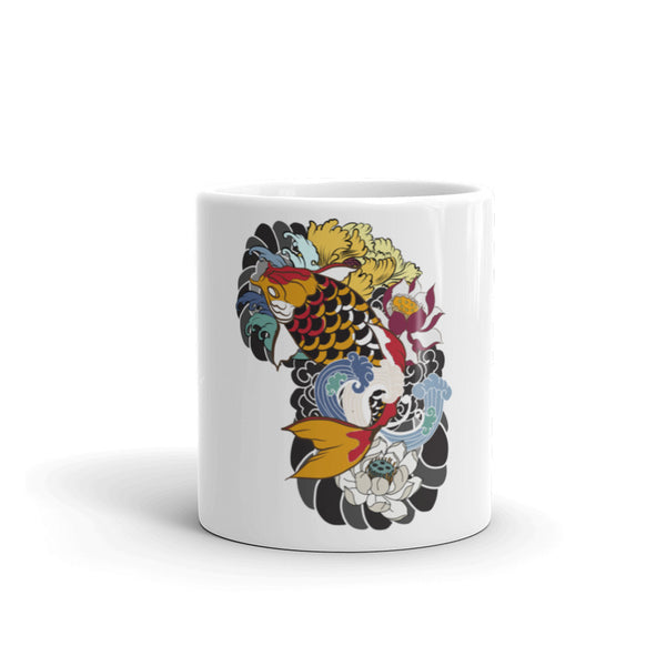 ceramic coffee mugs with print designs of fish over them tagged