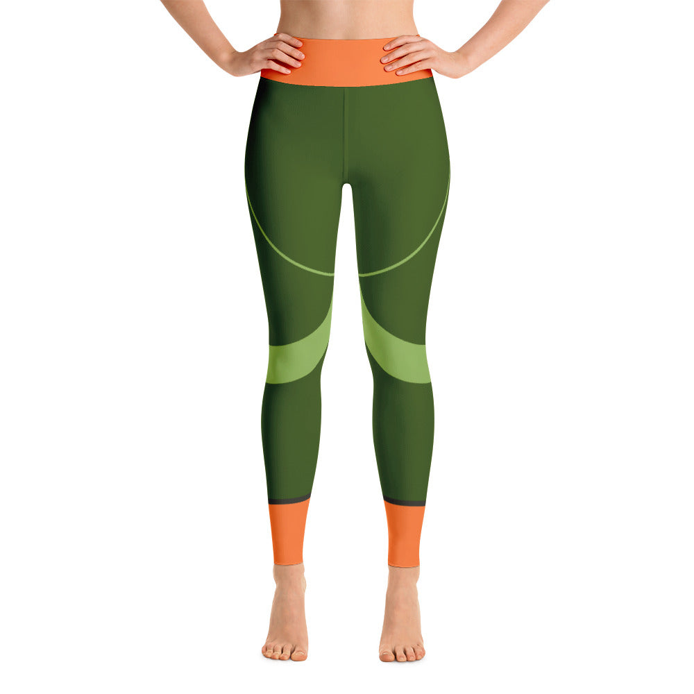 Colorful Abstract Green - Orange Yoga Leggings