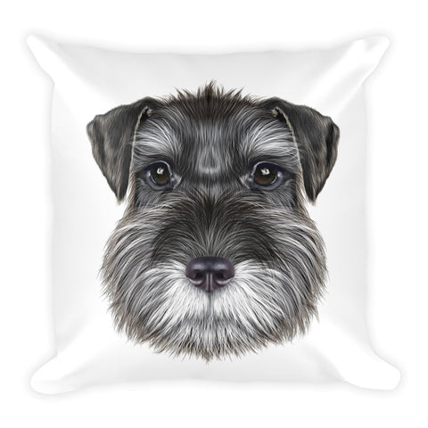 Decorative Schnauzer Dog Illustration Throw Pillow