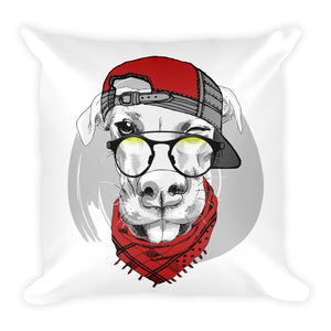 Throw Pillow with Decorative Illustration of Dog in cap and glasses