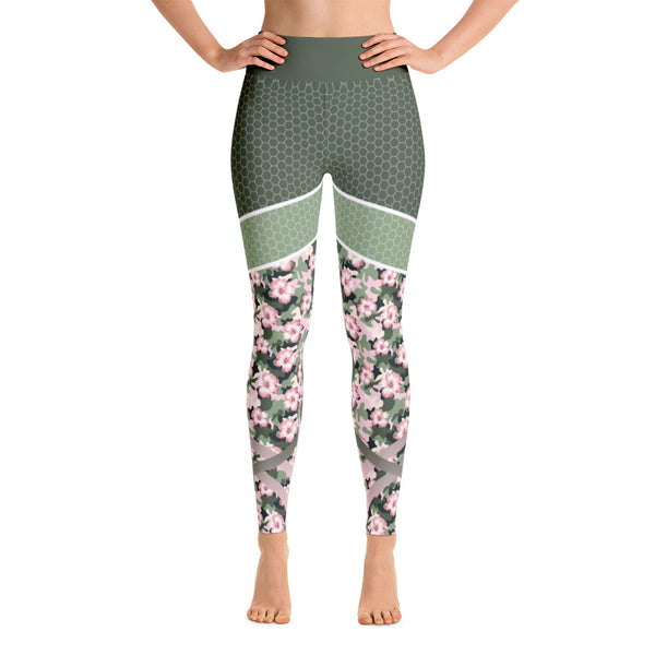 Camouflage Abstract Flowers Workout Yoga Leggings
