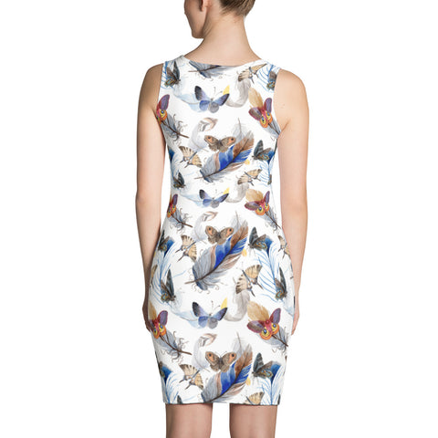 Classy White Printed dress with feathers and butterflies, for women