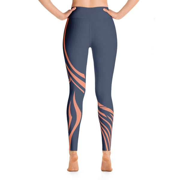 Colorful Pattern Asymmetry Blue Orange Yoga Leggings