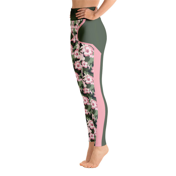 Striped Flowers Camo Pink Green  Yoga Leggings
