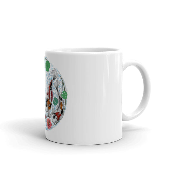Ceramic coffee mug with colorful fish on them