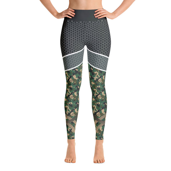 Camouflage Abstract Green Gray Yoga Leggings