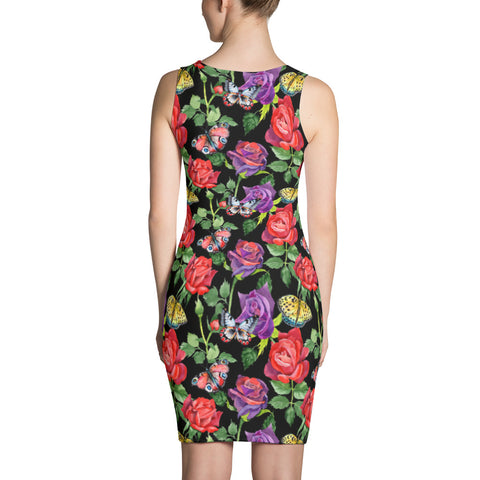 Black Printed dress with butterflies and water-colour roses, for women
