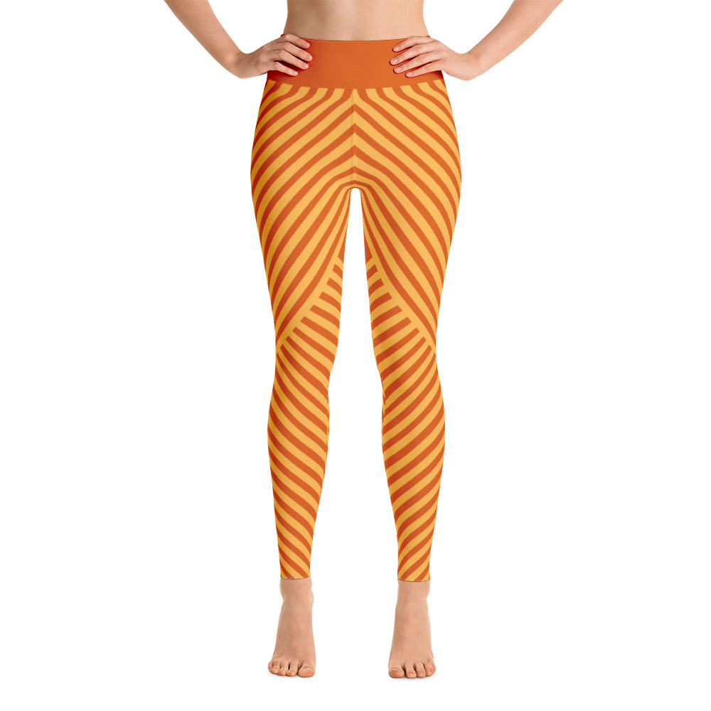 Striped Symmetry Running Orange For Girls Yoga Leggings