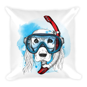 Decorative Scuba Diver Dog Illustration Throw Pillow