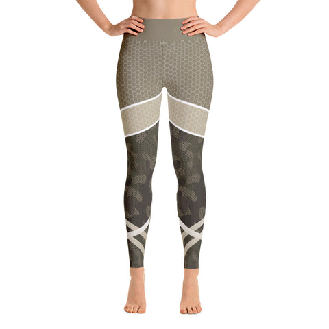 Camouflage Abstract Brown Workout Yoga Leggings