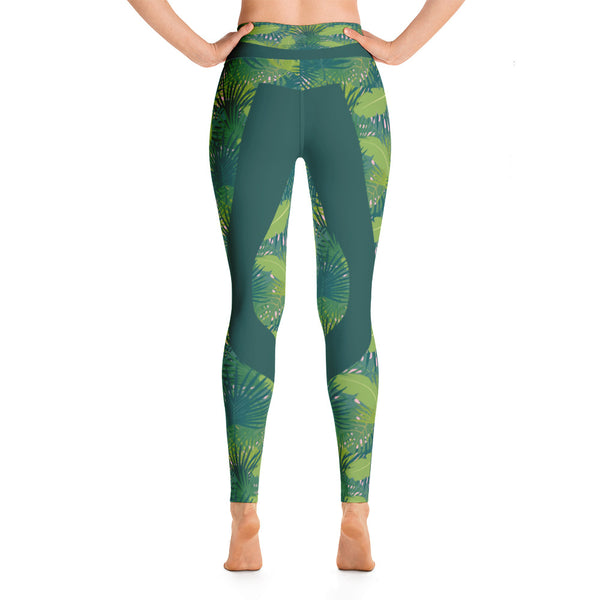 Patterned Khaki Green Tropical Yoga Leggings