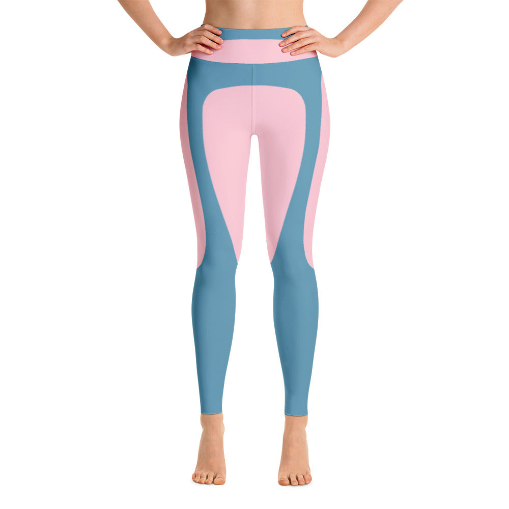 Colorful Abstract Blue - Pink Yoga Leggings