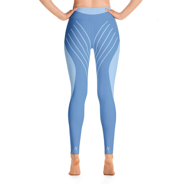 Striped Symmetry Blue Athletic For Girls Yoga Leggings