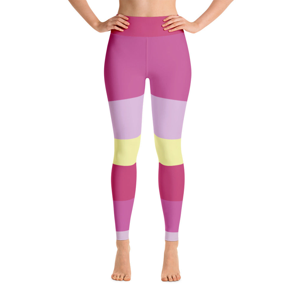 Colored Striped Yellow Pink Yoga Leggings