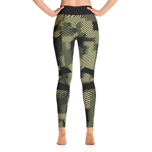 Patterned Camouflage Capri Green-Black Yoga Leggings