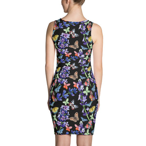 Black Printed dress with butterflies, for women