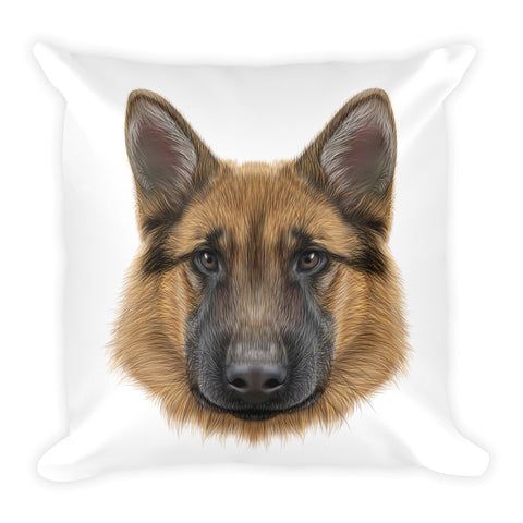 Decorative Shepherd Dog Illustration Throw Pillow