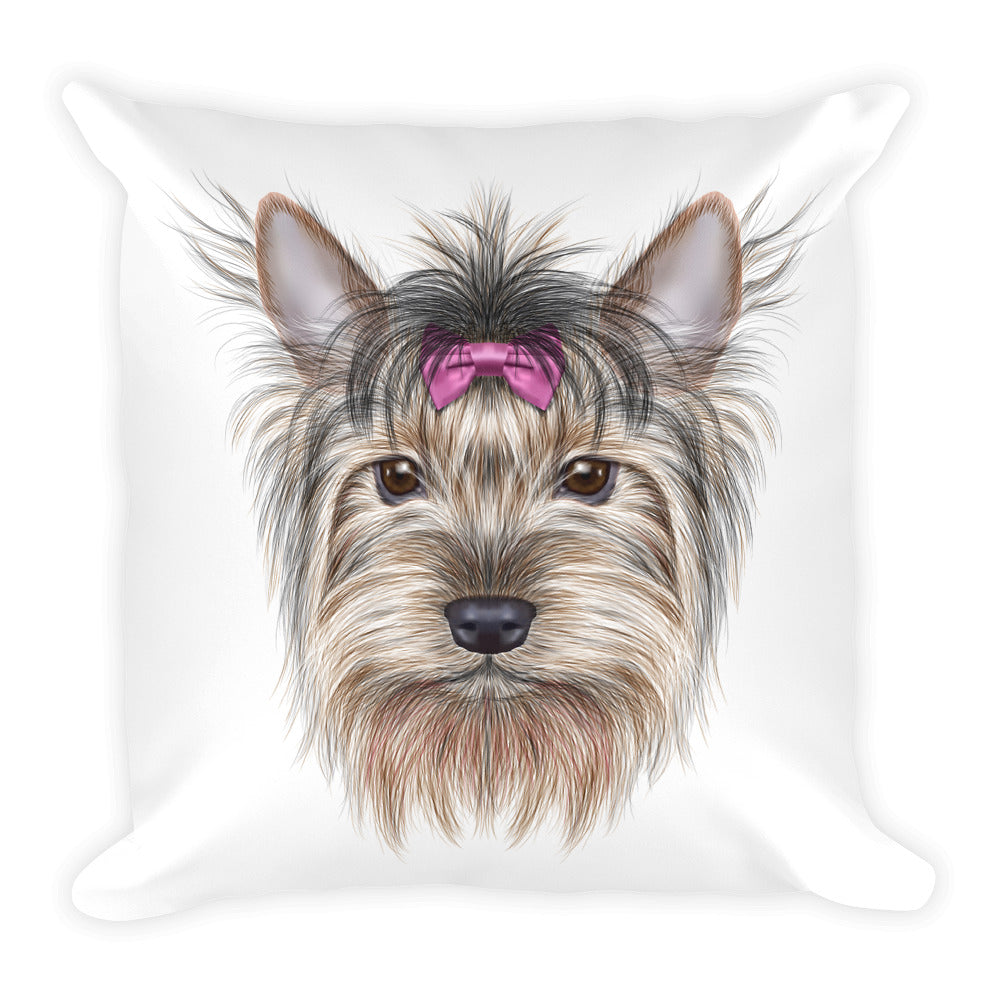 Throw Pillow With Yorkshire Terrier Dog Illustration On It