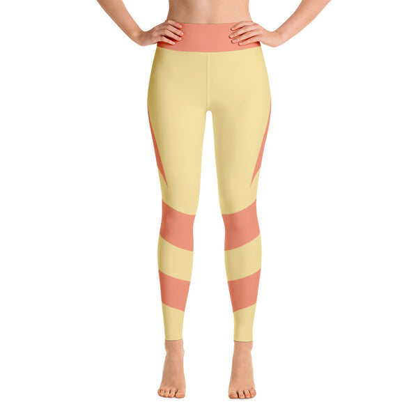 Striped Horizontal Yellow Orange Yoga Leggings