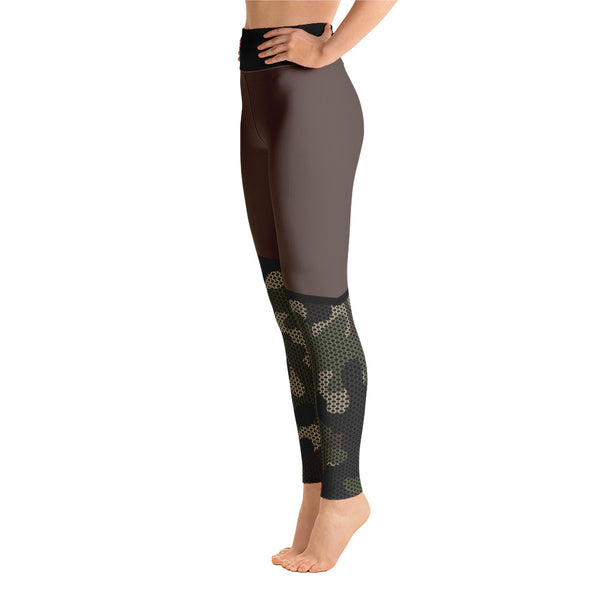 Striped Camouflage Brown Yoga Leggings