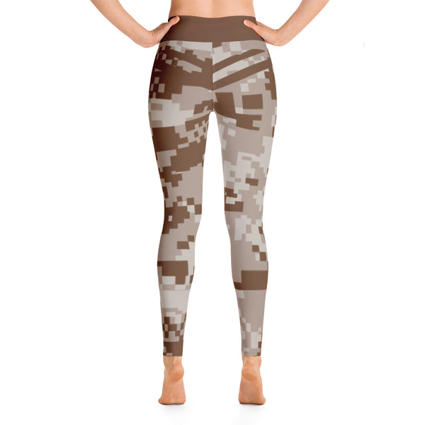 Patterned Camouflage Brown Yoga Leggings