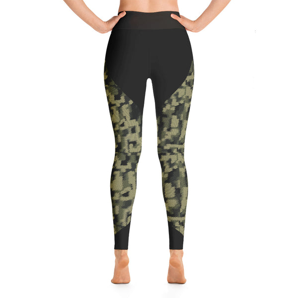 Patterned Army Green  Athletic Yoga Leggings