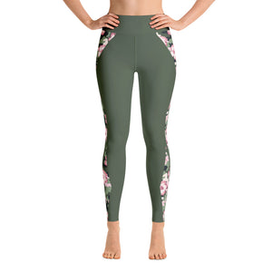 Patterned Army Green Flowers Athletic Yoga Leggings