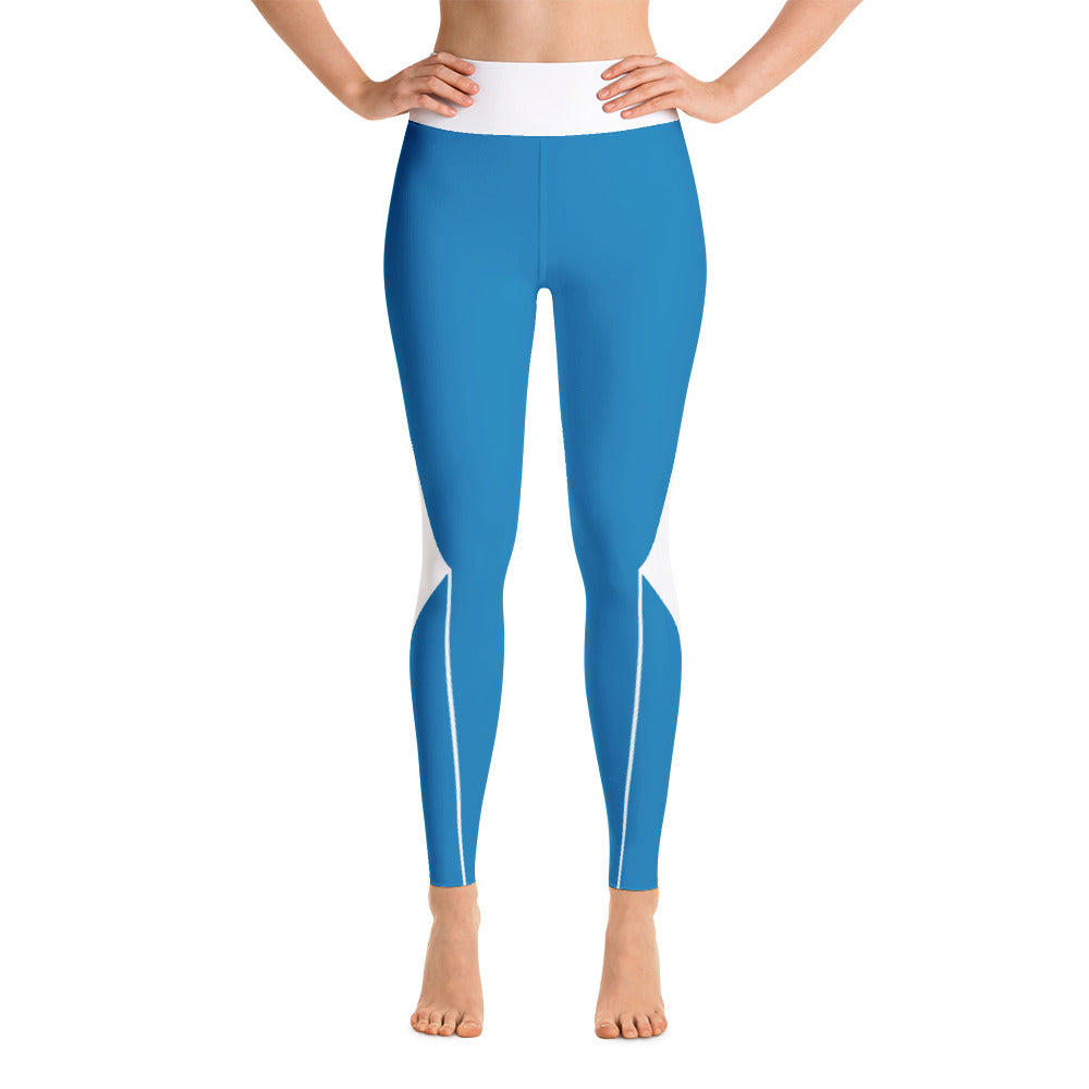 Womens Colorful White - Blue Running Yoga Leggings