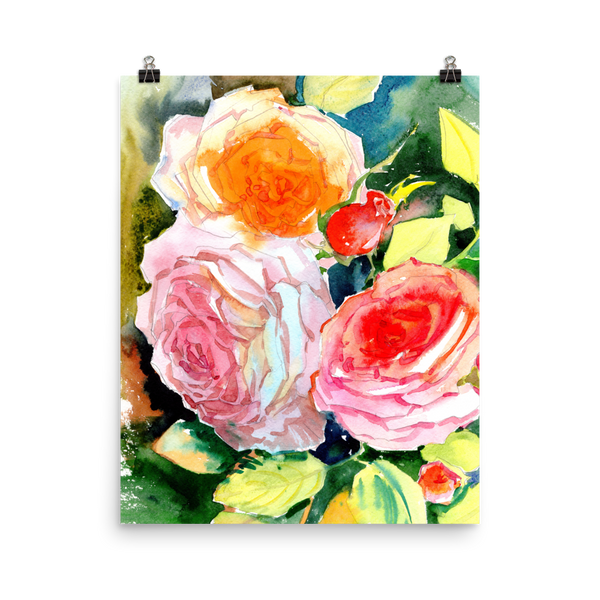 Bright and Floral Rose Watercolour Print Matte Poster