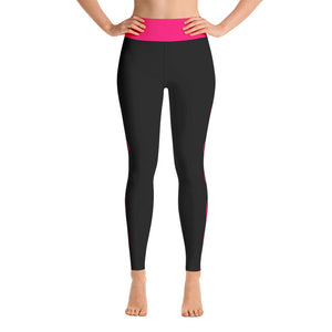 Pink and Black Striped Yoga Leggings