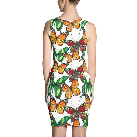 Elegant Printed dress with red and yellow butterflies, for women