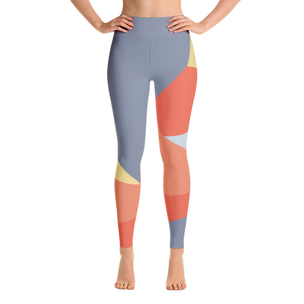 Colorful Running Gray - Orange Yoga Leggings