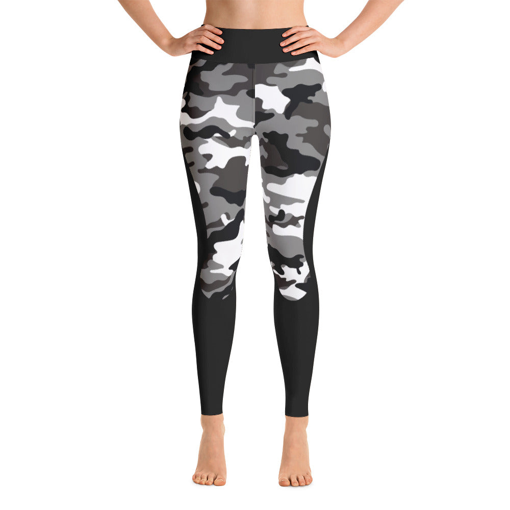 Army Green Black Athletic Yoga Leggings
