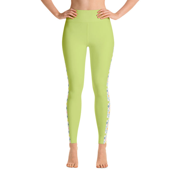 Mermaid Colored  printed on Green Yoga leggings