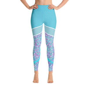 Patterned Mermaid Abstract Blue Athletic Leggings