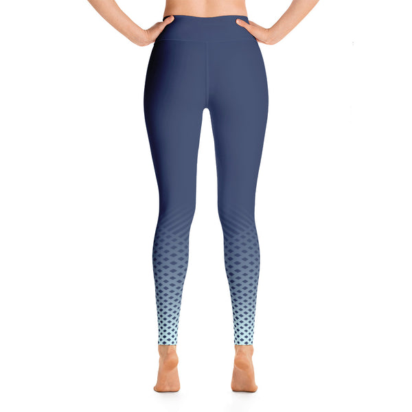 Patterned Ombre Blue Yoga Leggings
