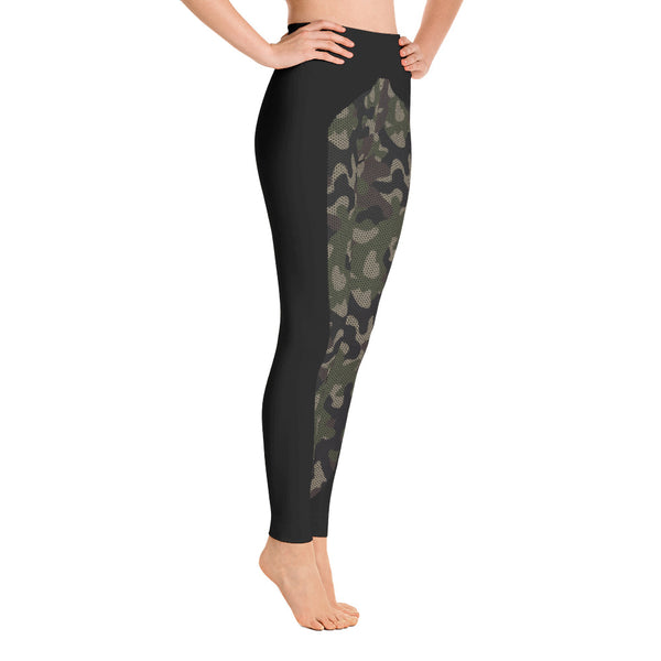 Patterned Camouflage Black-Green Yoga Leggings