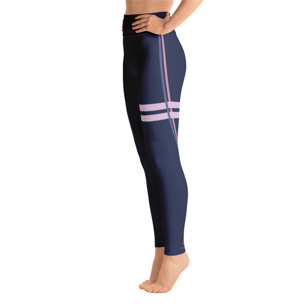 Striped Athletic Purple Yoga Leggings