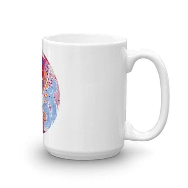 Ceramic coffee mug with vibrant fish on them