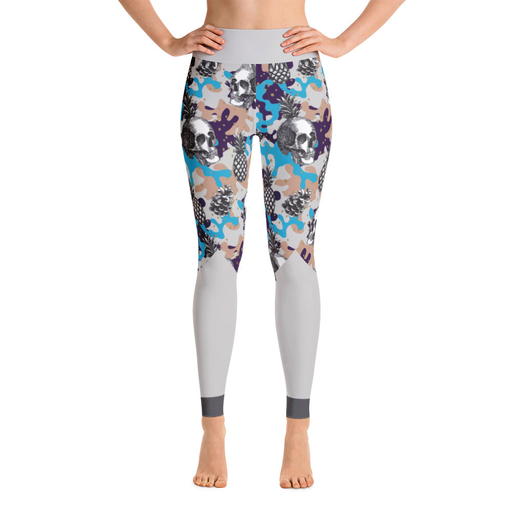 Patterned Skeleton Gray Purple Yoga Leggings