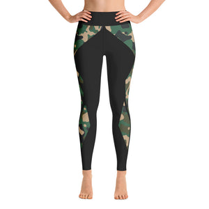 Striped Green-Black Camouflage Yoga Leggings
