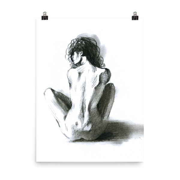 Printed watercolor hot girl poster of a sexy naked woman in black and white