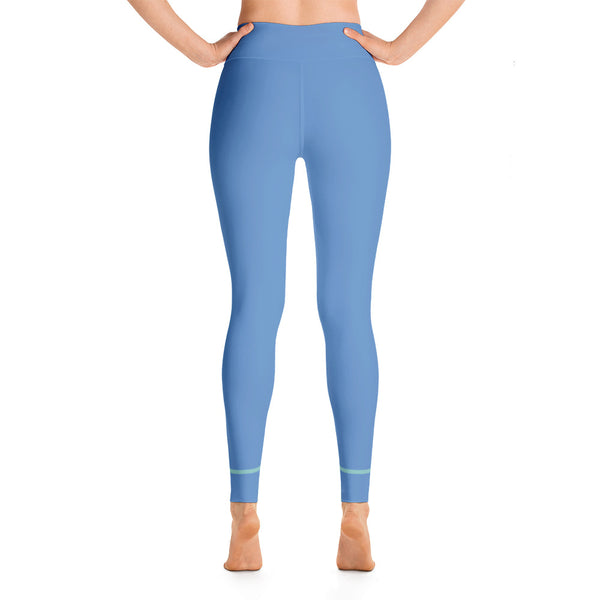 Colorful Blue Yellow Colored Yoga Leggings