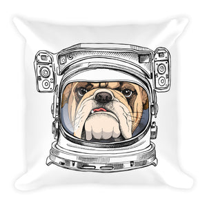Decorative Space Bulldog Illustration Throw Pillow