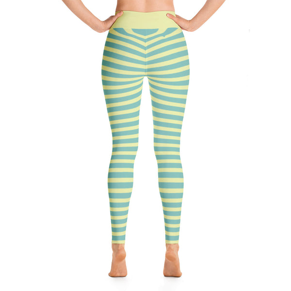 Striped Horizontal Yellow Striped Athletic Yoga Leggings