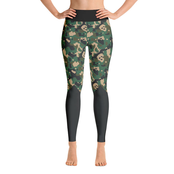 Patterned Black - Gray Athletic Camouflage Yoga Leggings